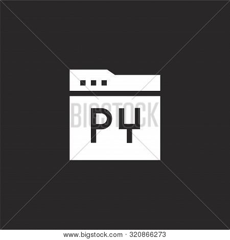 Python Icon. Python Icon Vector Flat Illustration For Graphic And Web Design Isolated On Black Backg