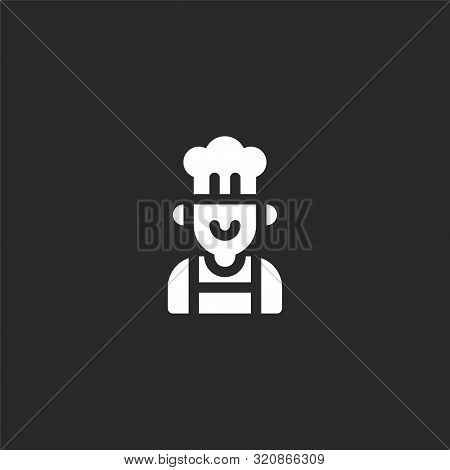 Chef Icon. Chef Icon Vector Flat Illustration For Graphic And Web Design Isolated On Black Backgroun
