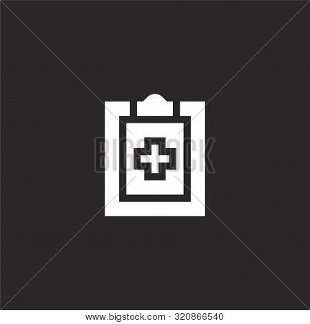 Diagnosis Icon. Diagnosis Icon Vector Flat Illustration For Graphic And Web Design Isolated On Black