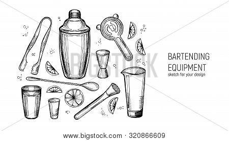 Bartending Equipment Set. Shaker, Jigger, Spoon, Mixing Glass, Muddler, Strainer, Ice Tongs. Hand Dr