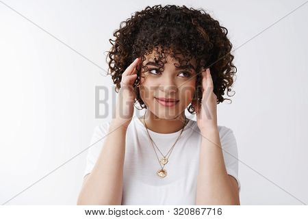Stylish Silly Curly-haired Female Student Smiling Look Away Touching Head Temples Feel Pressured Bra