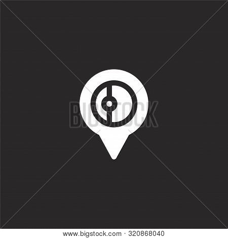 Location Icon. Location Icon Vector Flat Illustration For Graphic And Web Design Isolated On Black B