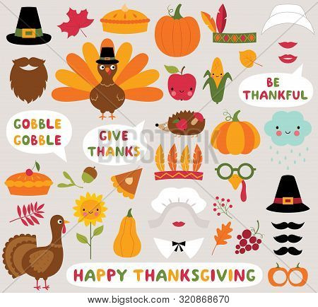 Thanksgiving Icons Vector Set - Turkeys, Pumpkins And Other