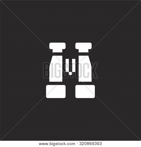 Binoculars Icon. Binoculars Icon Vector Flat Illustration For Graphic And Web Design Isolated On Bla