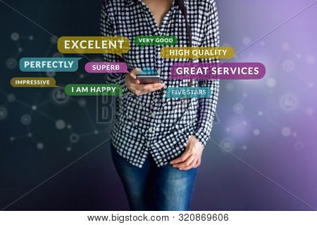 Customer Experience Concept. Happy Client Using Smart Phone To Reading Positive Review Or Feedback H