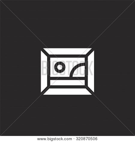 Picture Icon. Picture Icon Vector Flat Illustration For Graphic And Web Design Isolated On Black Bac