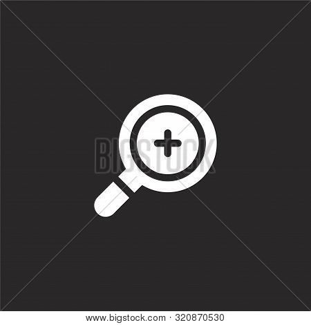 Zoom In Icon. Zoom In Icon Vector Flat Illustration For Graphic And Web Design Isolated On Black Bac
