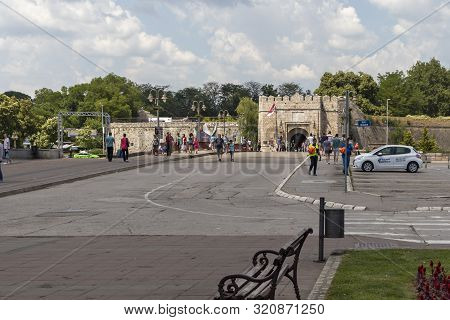 Nis, Serbia - June 15, 2019:  Park By The River Nisava River, City Of Nis, Serbia