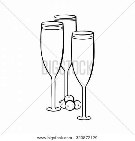Full Champagne Glasses Hand Drawn Illustration. Crystal Wineglasses With Alcohol Beverage And Olives