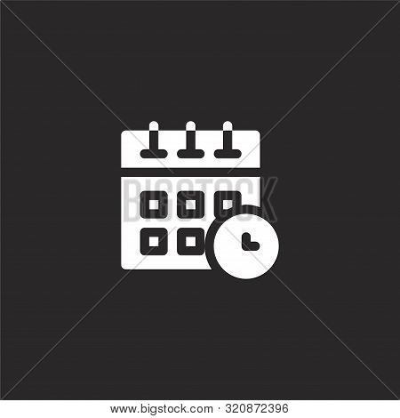 Timetable Icon. Timetable Icon Vector Flat Illustration For Graphic And Web Design Isolated On Black