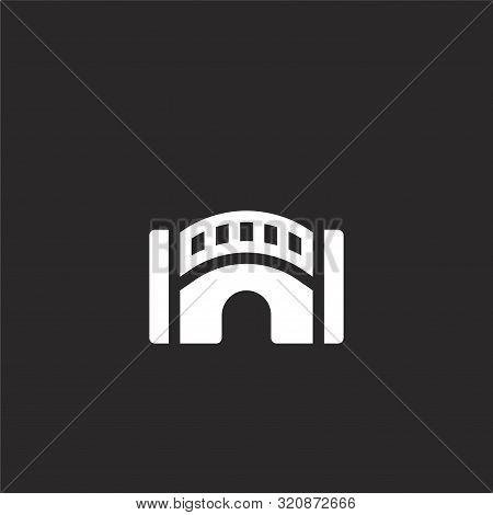 Bridge Icon. Bridge Icon Vector Flat Illustration For Graphic And Web Design Isolated On Black Backg