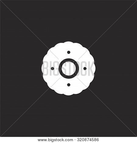 Pastry Icon. Pastry Icon Vector Flat Illustration For Graphic And Web Design Isolated On Black Backg
