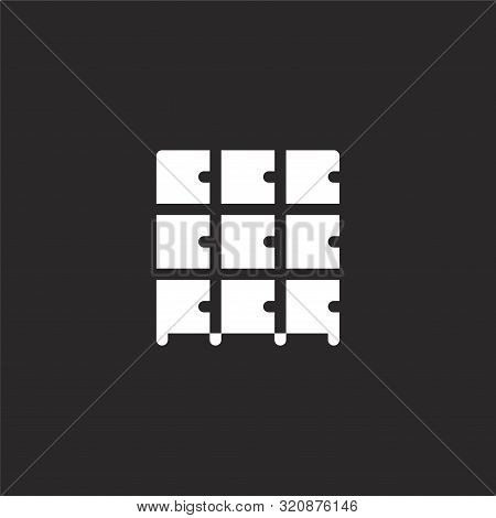 Lockers Icon. Lockers Icon Vector Flat Illustration For Graphic And Web Design Isolated On Black Bac