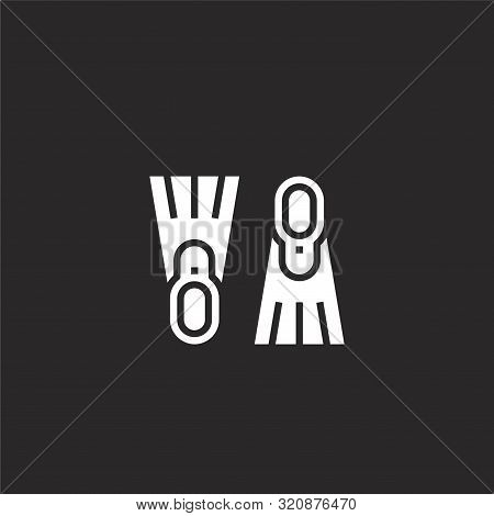 Flippers Icon. Flippers Icon Vector Flat Illustration For Graphic And Web Design Isolated On Black B