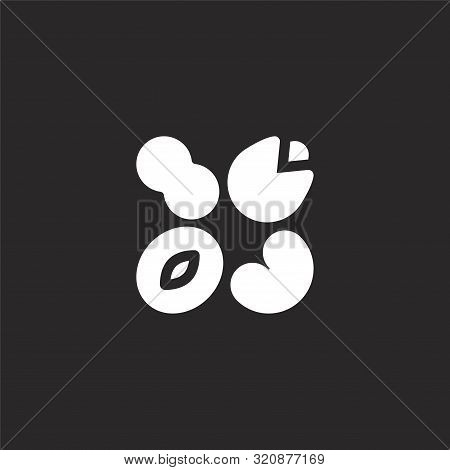 Nuts Icon. Nuts Icon Vector Flat Illustration For Graphic And Web Design Isolated On Black Backgroun