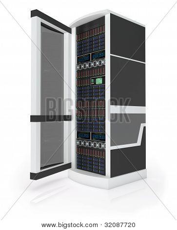 Server rack with open door