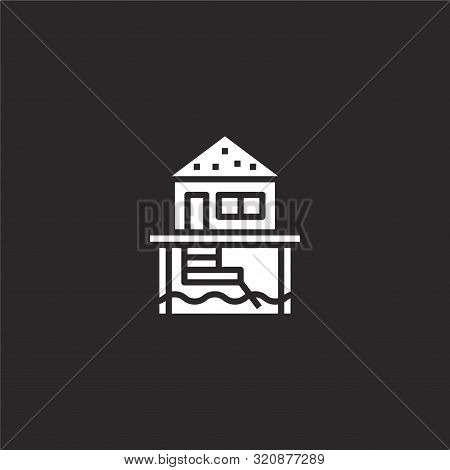 Bungalow Icon. Bungalow Icon Vector Flat Illustration For Graphic And Web Design Isolated On Black B