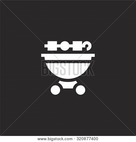 Bbq Icon. Bbq Icon Vector Flat Illustration For Graphic And Web Design Isolated On Black Background