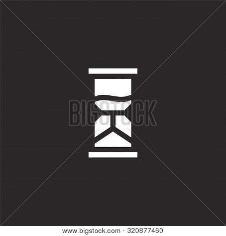 Hourglass Icon. Hourglass Icon Vector Flat Illustration For Graphic And Web Design Isolated On Black