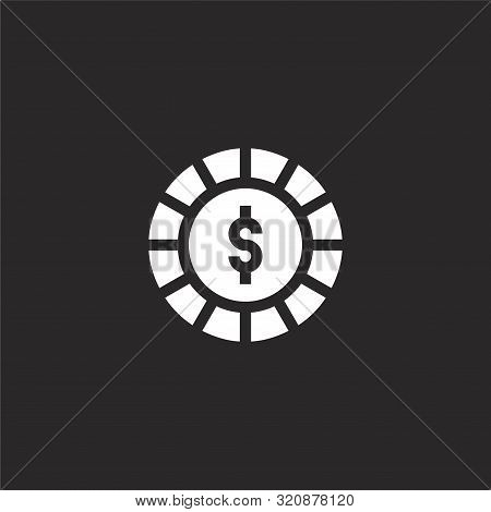 Chip Icon. Chip Icon Vector Flat Illustration For Graphic And Web Design Isolated On Black Backgroun