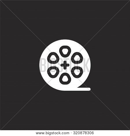 Film Roll Icon. Film Roll Icon Vector Flat Illustration For Graphic And Web Design Isolated On Black