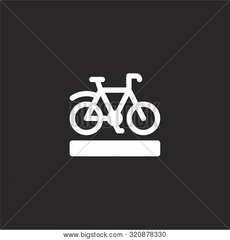 Bike Lane Icon. Bike Lane Icon Vector Flat Illustration For Graphic And Web Design Isolated On Black