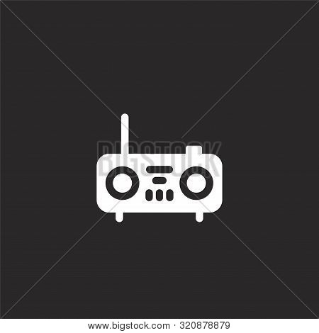 Radio Icon. Radio Icon Vector Flat Illustration For Graphic And Web Design Isolated On Black Backgro