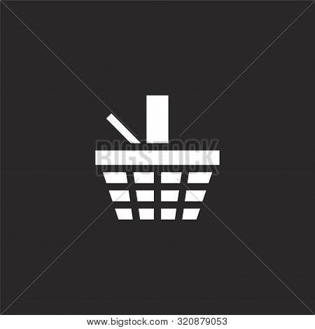 Picnic Basket Icon. Picnic Basket Icon Vector Flat Illustration For Graphic And Web Design Isolated