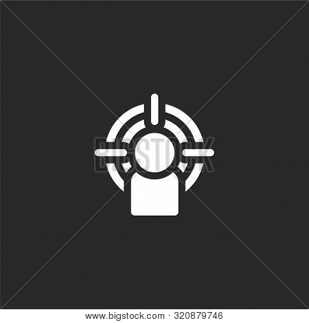 Objective Icon. Objective Icon Vector Flat Illustration For Graphic And Web Design Isolated On Black
