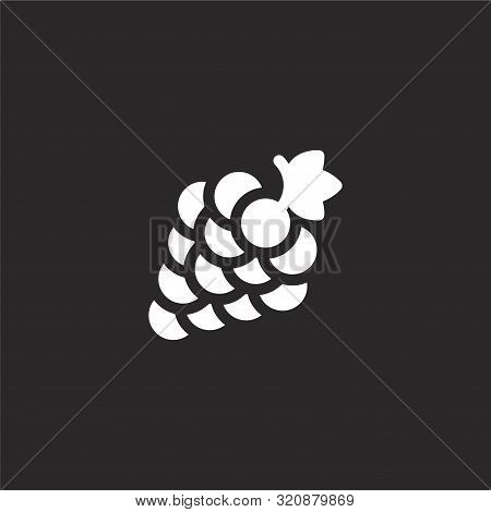 Grape Icon. Grape Icon Vector Flat Illustration For Graphic And Web Design Isolated On Black Backgro