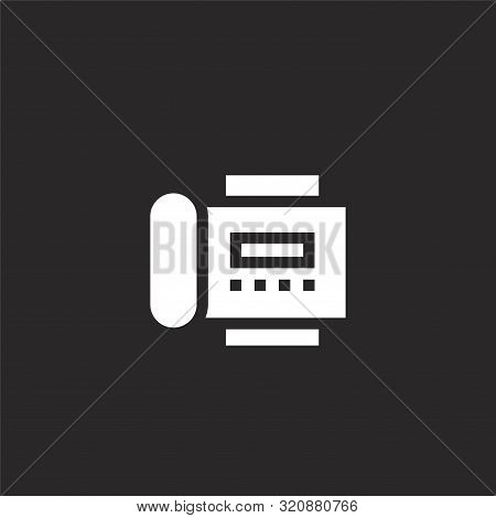 Fax Icon. Fax Icon Vector Flat Illustration For Graphic And Web Design Isolated On Black Background