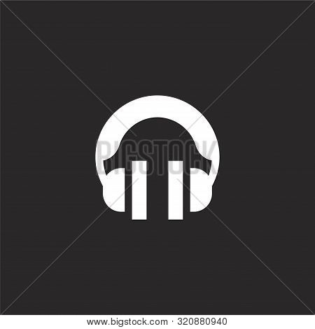 Headphones Icon. Headphones Icon Vector Flat Illustration For Graphic And Web Design Isolated On Bla