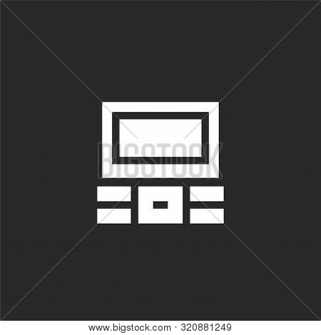 Television Icon. Television Icon Vector Flat Illustration For Graphic And Web Design Isolated On Bla