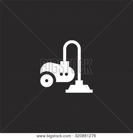 Vacuum Icon. Vacuum Icon Vector Flat Illustration For Graphic And Web Design Isolated On Black Backg