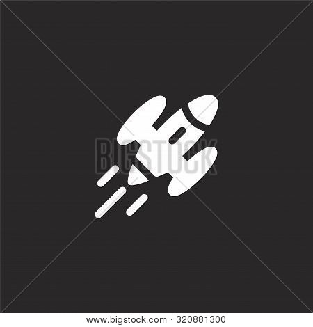 Spaceship Icon. Spaceship Icon Vector Flat Illustration For Graphic And Web Design Isolated On Black