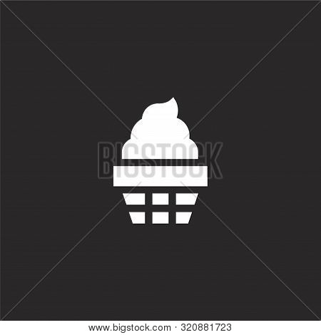 Frozen Yogurt Icon. Frozen Yogurt Icon Vector Flat Illustration For Graphic And Web Design Isolated