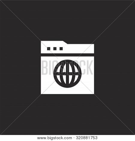 Browser Icon. Browser Icon Vector Flat Illustration For Graphic And Web Design Isolated On Black Bac