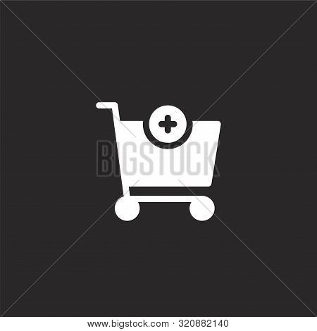 Add Icon. Add Icon Vector Flat Illustration For Graphic And Web Design Isolated On Black Background