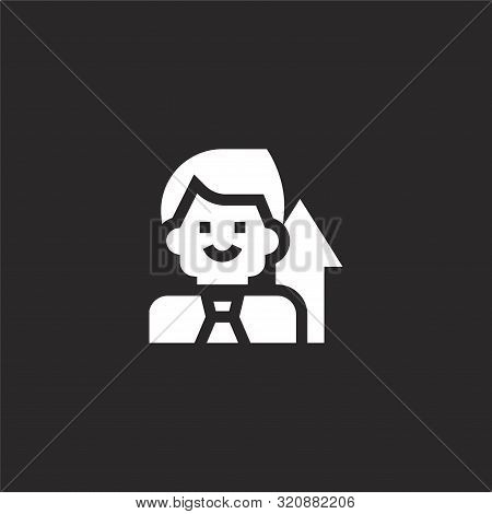 Manager Icon. Manager Icon Vector Flat Illustration For Graphic And Web Design Isolated On Black Bac