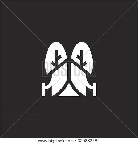 Tent Icon. Tent Icon Vector Flat Illustration For Graphic And Web Design Isolated On Black Backgroun