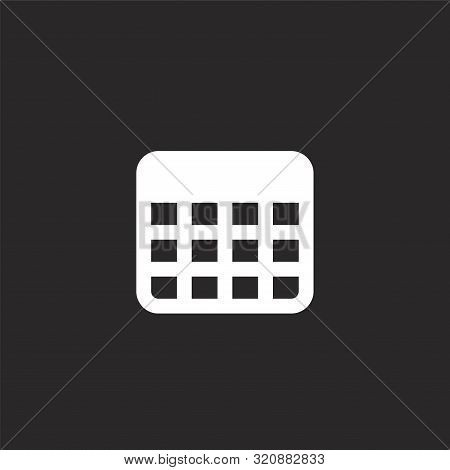 Table Icon. Table Icon Vector Flat Illustration For Graphic And Web Design Isolated On Black Backgro
