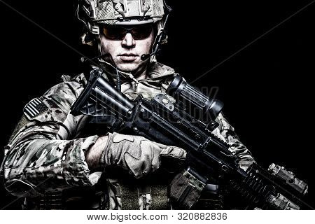 Us Army Soldier With Rifle On Black Background