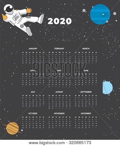 2020 Calendar - Illustration. Template Mock Up. Vector Illustration