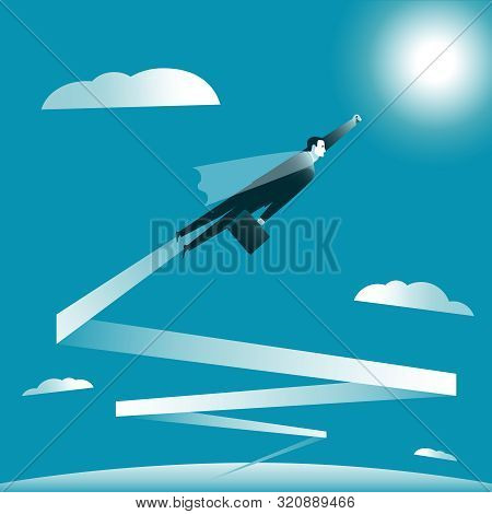 Businessman Flying To The Goal. Businessman In The Mantle As Superman Flies All Higher. Business Suc