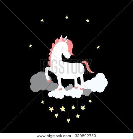 Cute Unicorn Sleep On Cloud In Night Sky With Shining Stars. Good Night Card, Print For T-shirt, Bab