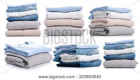 Set Stack Folded Clothing Sweater Jeans On White Background Isolation