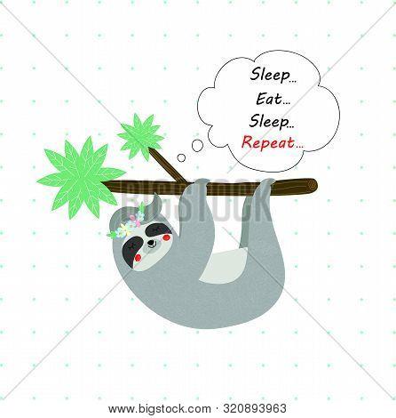 Cute Funny Sloth In Flower Wreath Sleep Hanging On Tree Branch On White Polka Dots Pattern. Sleep Ea