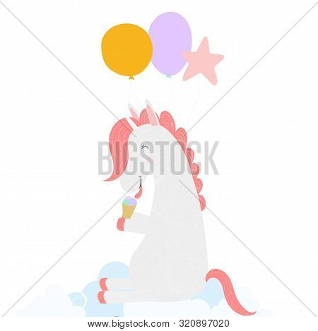 Cute Unicorn With Balloons Eating Ice Cream Cone Sitting On Cloud Isolated On White Background. Happ