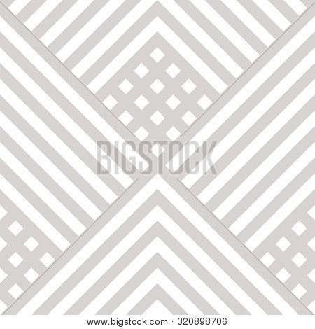 Vector Geometric Lines Seamless Pattern. Subtle Modern Texture With Squares, Rhombuses, Stripes, Che