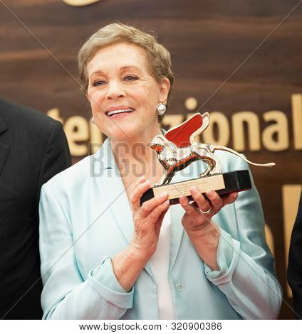 Julie Andrews is awarded the Golden Lion for Lifetime Achievement during the 76th Venice Film Festival at Sala Grande on September 02, 2019 in Venice, Italy.